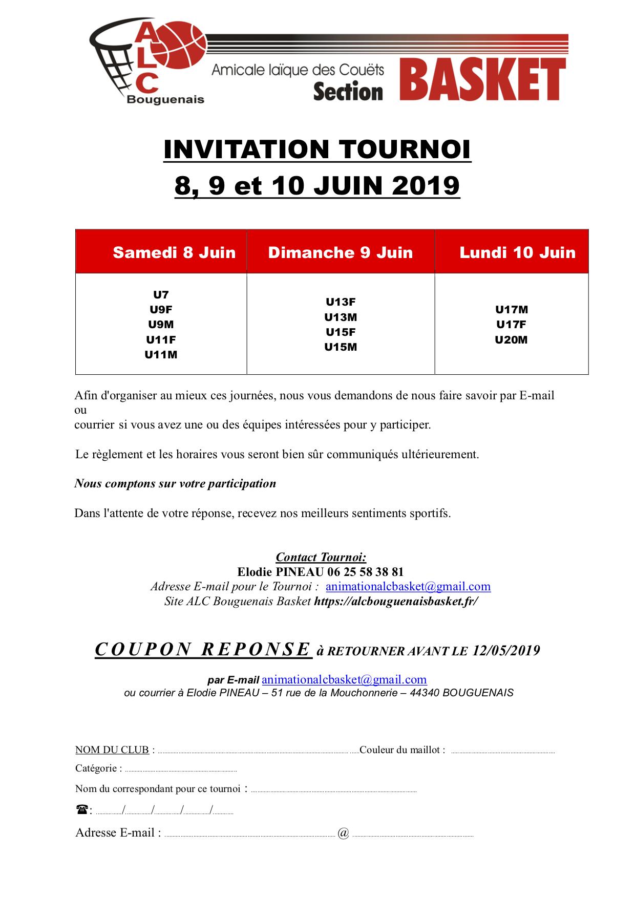 Invitation tournoi 2019